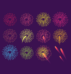 Fireworks on blue background burst of salute vector