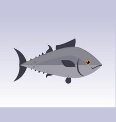 cute fish gray cartoon funny swimming graphic vector image