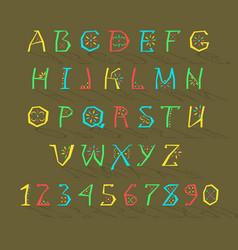 colorful geometric alphabet vector image