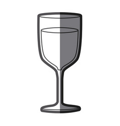 Grayscale silhouette of glass of wine with half vector
