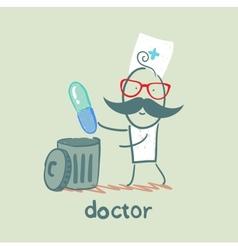 Doctor throws a pill vector