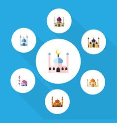 Flat icon building set of building mohammedanism vector