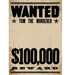 Wanted sign template vector