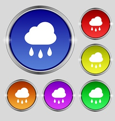 Weather rain icon sign round symbol on bright vector