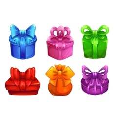Colorful gift boxes with big bows vector