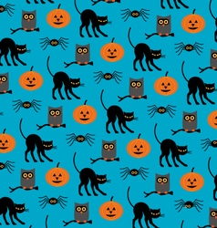 Halloween cats and owls vector