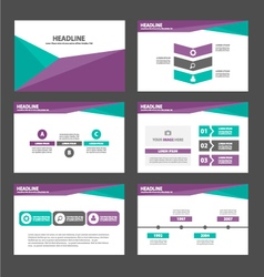 Purple green presentation templates infographic vector