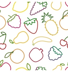 Seamless fruits and berries outline pattern vector