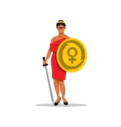 Woman Warrior Cartoon vector image