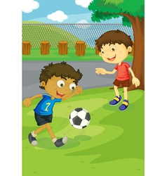 Soccer in the park vector