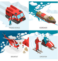 Arctic polar station isometric concept vector
