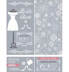 Bridal shower cardswinter weddingdresspattern vector