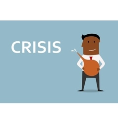 Businessman cleans out business from crisis vector image vector image