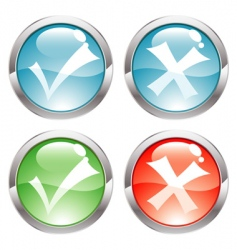 buttons with ticks vector image vector image
