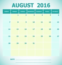 Calendar August 2016 week starts Sunday vector image vector image