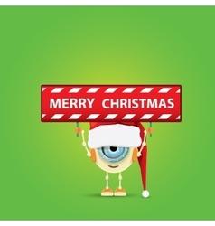 Cartoon cute robot elf with santa red hat vector