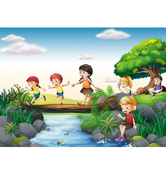 Children and stream vector image