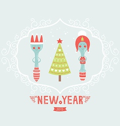 christmas greeting card with spoon plug tree vector image