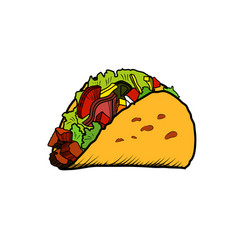 color sketch tacos vector image vector image