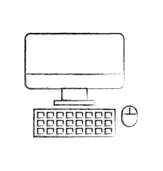 Computer desktop isolated icon vector