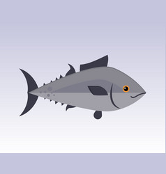 Cute fish gray cartoon funny swimming graphic vector