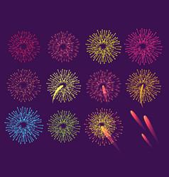fireworks on blue background burst of salute vector image