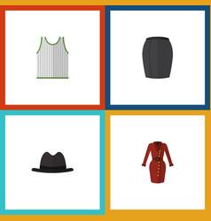 Flat icon dress set of singlet panama stylish vector