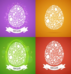 Four easter egg card of objects vector