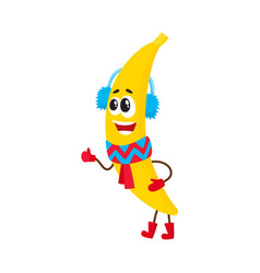 Funny banana character in winter clothes vector