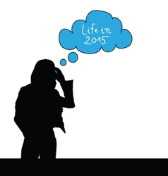 girl think life in 2015 color vector image