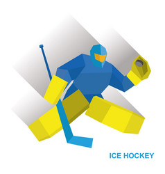 Goalkeeper with hockey stick vector