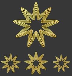 Golden line star logo design set vector