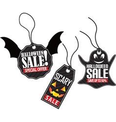 Halloween sale tag set vector