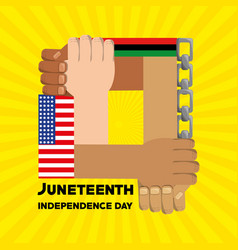 Hands together with chain and flag to independence vector