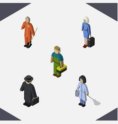 isometric person set of plumber cleaner hostess vector image vector image