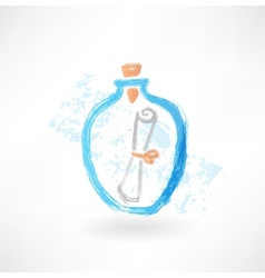 Message in a bottle grunge icon vector