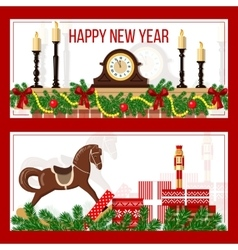 New Year time and Christmas set in stripes vector image vector image