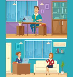 office worker 2 cartoon banners vector image vector image