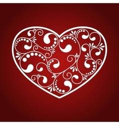 Ornamental white heart vector