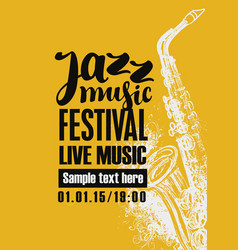 Poster for jazz festival with a saxophone vector