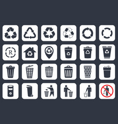 recycle icons and trash signs vector image vector image