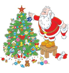 Santa Claus decorating a Christmas tree vector image
