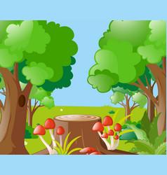 scene with mushroom and log vector image