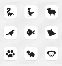 set of 9 editable nature icons includes symbols vector image vector image