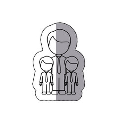 Silhouette man her boys twins icon vector