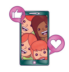 smartphone people talking hand like and love heart vector image