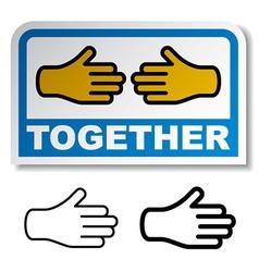 Together shake hands sticker vector