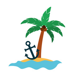 tree palm with anchor summer icon vector image vector image