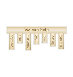 Wooden label with we can help vector