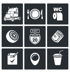 Work truckers icon set vector